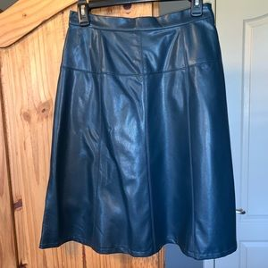 Dennis Basso faux leather a-line skirt NWT